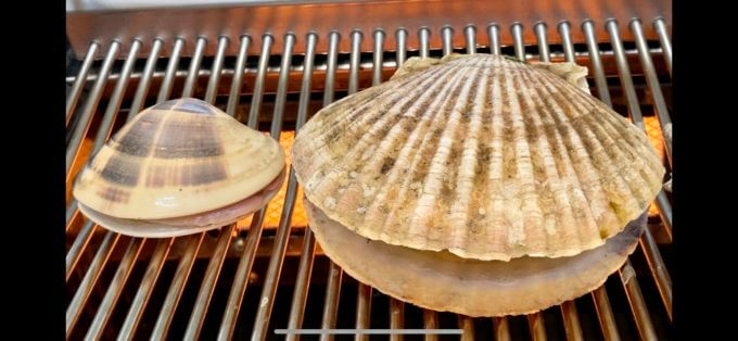 網の上で焼かれる、ホタテとハマグリ